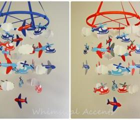 Airplanes, Helicopters and Clouds Baby Mobile Inspired by the Land of Nod Come Fly with Me Bedding
