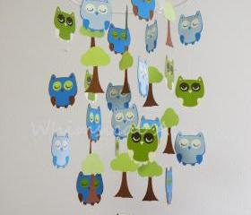 Sleep Tight Baby Owl Mobile in Green and Blues