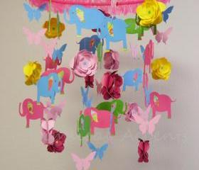 Elephant, Flower and Butterfly Baby Mobile in Bright Colors