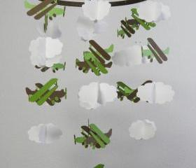 Biplane and Cloud Baby Paper Mobile in Greens