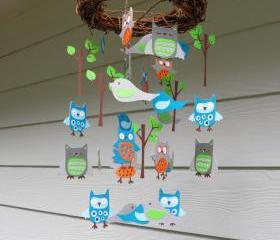 Whoo Loves You Baby Mobile with Nest with Orange and Teal