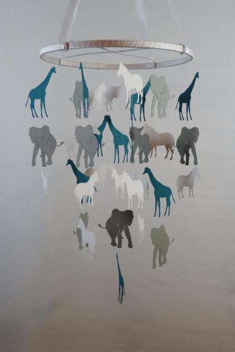 Safari Decorative Mobile - White, Gray, Teal