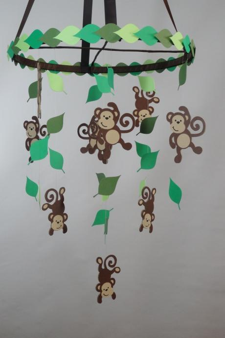 Monkey Jungle Baby Mobile with Leaves