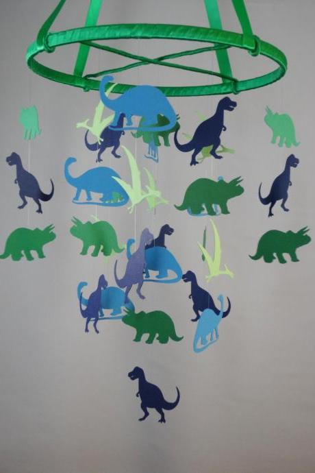 Dinosaurs Decorative Baby Mobile in Blues and Greens
