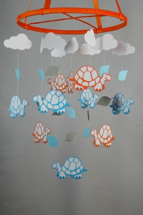 Turtle, Leaf and Cloud Decorative Mobile in Orange, Blues, Gray and White